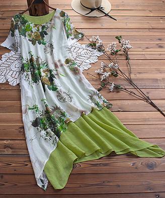 CELLABIE Women's Casual Dresses Green - Green Floral Angled-Hem Linen-Blend Maxi Dress Set - Women