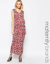 Mama Licious Mama.licious Mamalicious Floral Printed Jersey Maxi Dress With Cap Sleeve