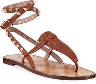 Valentino Garavani Flat Rockstud Ankle-Wrap Gladiator Sandals