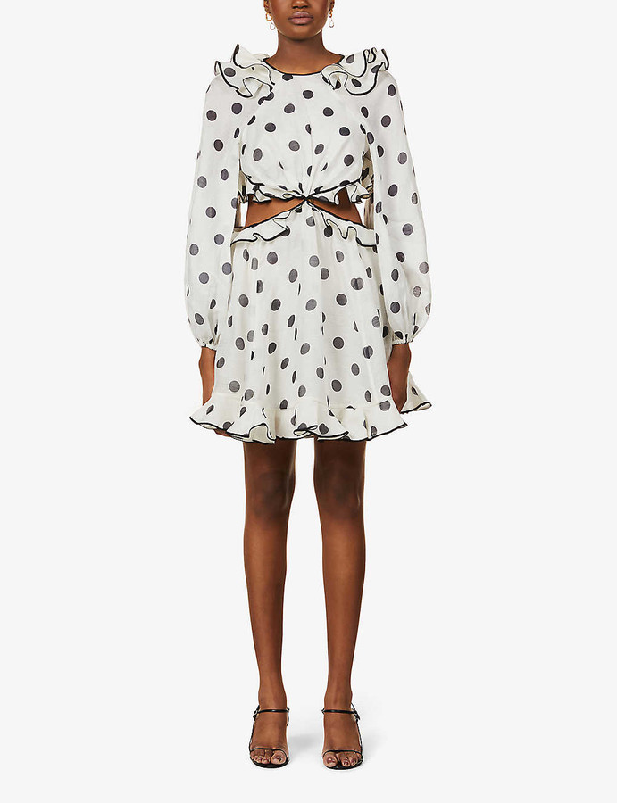 Zimmermann Love polka dot-print linen-silk blend mini dress