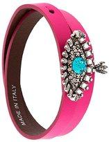 Alexander McQueen jewelled eye double wrap bracelet