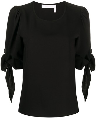 See by Chloe Tie-Cuffs Round-Neck Blouse