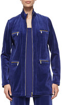 Joan Vass Velour 4-Pocket Long Jacket