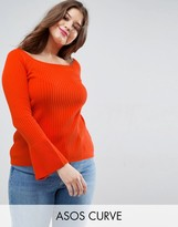Asos Jumper In Rib With Off Shoulder And Fluted Sleeves