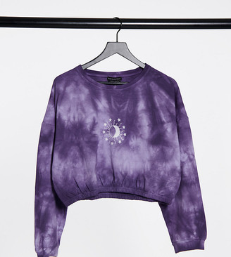 Wednesday's Girl Curve coordinating cropped sweatshirt with celestial print in tie dye