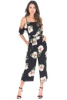 AX Paris Black Floral Cold Shoulder Culotte Jumpsuit