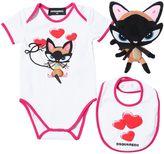 DSQUARED2 Cat Cotton Jersey Bodysuit, Bib & Toy