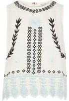 River Island Womens Cream print embroidered festival tank top