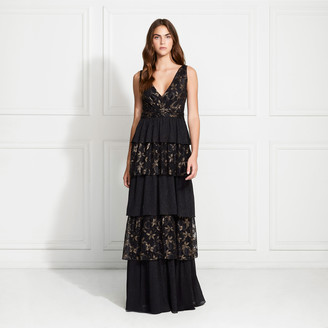 Rachel Zoe Payten Metallic Lace Tiered Gown