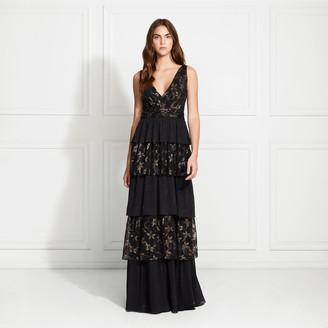 Rachel Zoe Payten Metallic Lace Tiered Gown