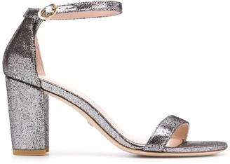 Stuart Weitzman Metallic Low Block Heel Sandals