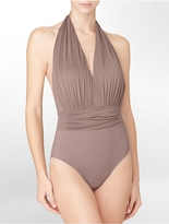 Calvin Klein One-Piece Pleated + Ruched Bathing Suit