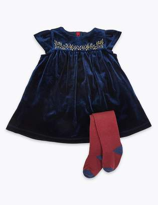 Marks and Spencer 2 Piece Velvet Dress With Tights