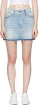 Frame Blue Denim le Mini Frayed Waist Miniskirt