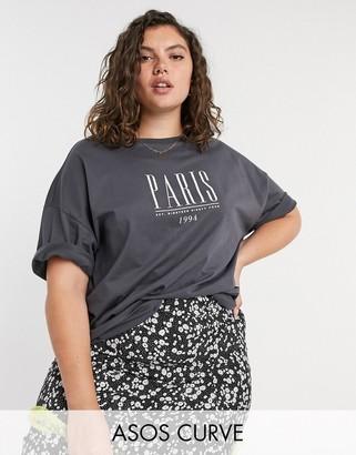 ASOS DESIGN Curve oversized t-shirt with Paris print
