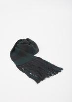 Lanvin dark green striped beaded ribs scarf