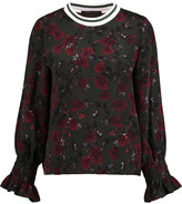 Mother of Pearl Cora floral-print silk-crepe top