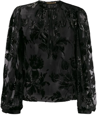 Saint Laurent Shiny Floral-Embroidered Blouse