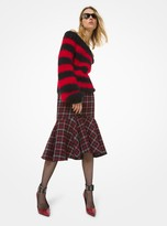 Michael Kors Rugby Stripe Mohair Off-The-Shoulder Sweater