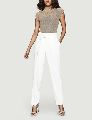Reiss Connie metallic knitted cotton-blend top