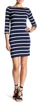 Soprano 3/4 Length Sleeve Stripe Bodycon Dress