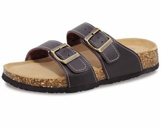 Shoeslocker Womens Slides Sandals Cork Footbed Adjustable Double Buckle Flat Sandals Rose Red Size 9