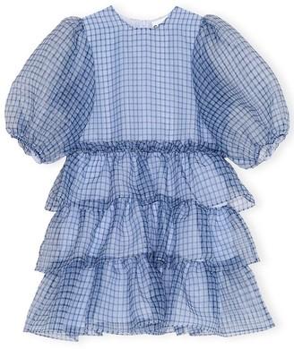 Ganni Organza Tiered Dress in Heather