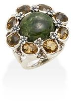 Stephen Dweck Newbury Chrome Diopside Cabochon, Yellow Quartz & Sterling Silver Flower Ring