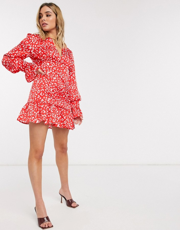 Thumbnail for your product : Forever U animal print mini dress in red
