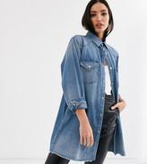 Asos Tall DESIGN Tall denim oversized shirt in vintage midwash blue