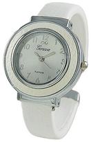 Geneva Platinum White Croc-Embossed Cuff Watch