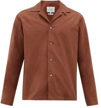 Studio Nicholson Cuban Collar Cotton-twill Shirt - Mens - Dark Brown