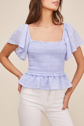 Astr January Smocked Peplum Top Periwinkle M