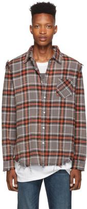 R 13 Grey Shredded Seam Shirt
