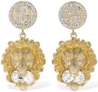 Gucci LION HEAD CRYSTAL CLIP-ON EARRINGS