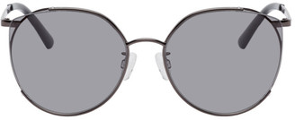 McQ Gunmetal Round Iconic Gravity Bar Sunglasses