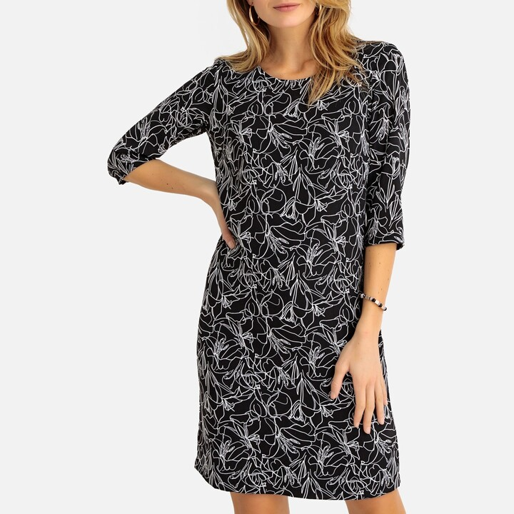 Anne Weyburn Floral Print Shift Dress with 3/4 Length Sleeves