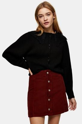 Topshop Rust Denim Corduroy Button Through Mini Skirt