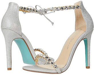 Blue by Betsey Johnson Gilly Heeled Sandal (Black Satin) Women's Shoes