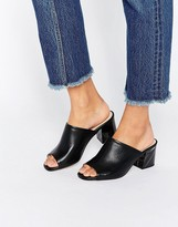 Kg Kurt Geiger Kg By Kurt Geiger Hector Black Leather Mid Heeled Mules