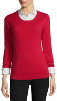 WORTHINGTON Worthington Long-Sleeve Essential Crewneck Sweater - Tall