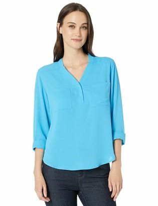 Nine West Women's Long Sleeve V-Neck Two Pocket Blouse