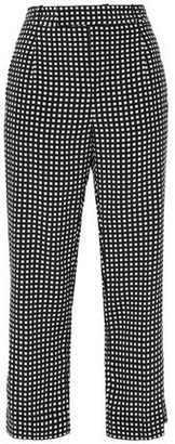 Equipment Bergen Cropped Checked Silk Straight-leg Pants