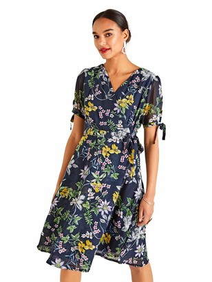 Yumi Navy Summer Flower Wrap Tea Dress
