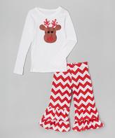 Beary Basics White & Red Reindeer Tee & Pants - Toddler & Girls