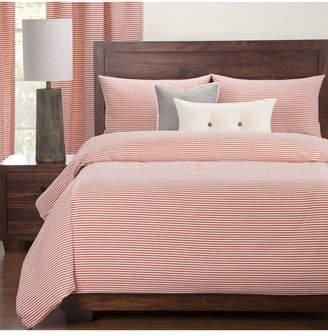 Everlast Revolution Plus Stripe Apricot Stain Resistant 6 Piece Full Duvet Set Bedding