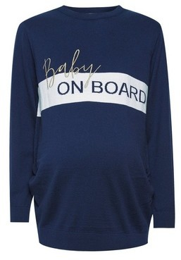 Dorothy Perkins Womens Dp Maternity Navy 'Baby On Board' Top