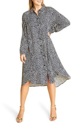 Marina Rinaldi Long Sleeve Crepe Dress