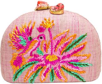 Rafe Ariella Pink Bird Embroidered Raffia Clutch