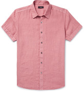 Theory Clark Slim-Fit Garment-Dyed Linen Shirt
